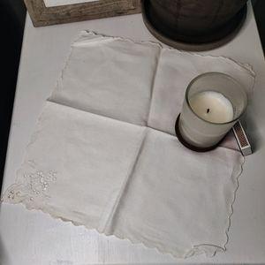 Plain White Vintage Handkerchief with Cut Work